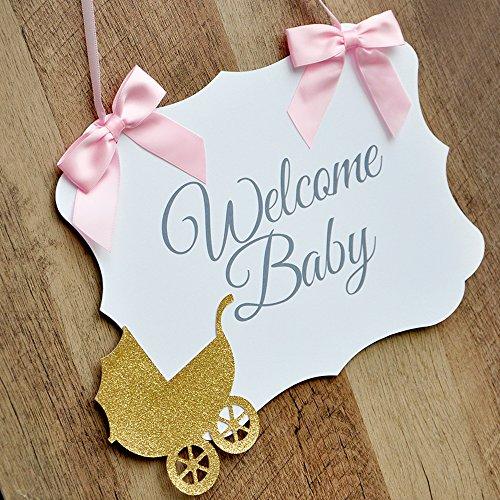 Welcome Baby Sign. Pink and Gold Hospital Door Hanger. Baby Shower Sign.