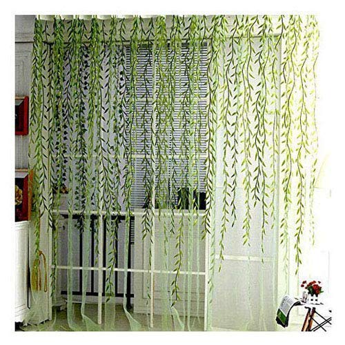 BROSHAN Willow Voile Tulle Window Curtain, Spring Gauze Curtain Panels with Green Leaves for Indoor Outdoor Window Sheer Treatments Rod Pocket,1 -