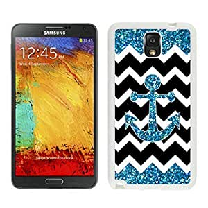 Samsung Galaxy Note 3 White Rubber Case Anchor Chevron Wave Pattern Durable Soft Silicone Note III Protective Covers