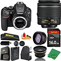 Great Value Bundle for D5500 DSLR – 18-55mm AF-P + 16GB Memory + Wide Angle + Telephoto Lens + Backpack