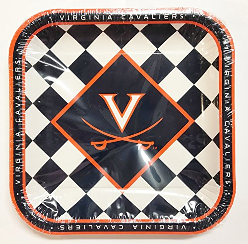 Virginia Cavaliers 9 Inch Square Party Plates - Officially Licensed (Pack of 8)