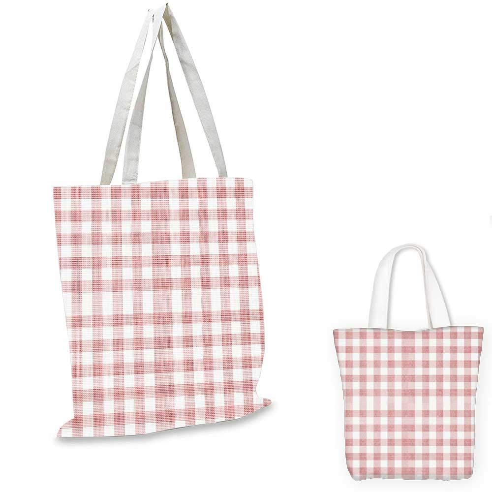 Checkered canvas messenger bag Pattern with Squares Mosaic Diagonal Vertical Stripes Graphic Print canvas bag shopping Dark Coral White Brown 16x18-13