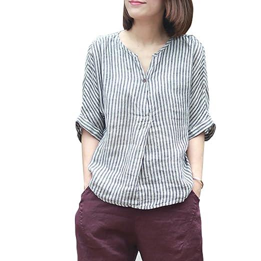 796683a12ca3f4 Johnature Women Linen Striped Shirts 2019 Summer New Bat Sleeve Casual  Blouses Half Sleeve Loose Vintage