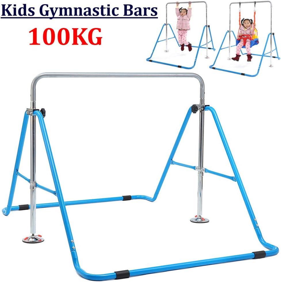 Barres dentra/înement de gymnastique pour enfants t/élescopiques pliables Convient aux exercices dentra/înement en famille Structure stable triangulaire Peut /être utilis/ée avec une balan/çoire