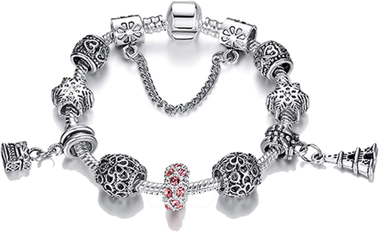 PHKYT Original Silver 925 Crystal Four Leaf Clover Bracelet with Clear Glass Beads Charm Bracelet Bangle for Women DIY Jewelry