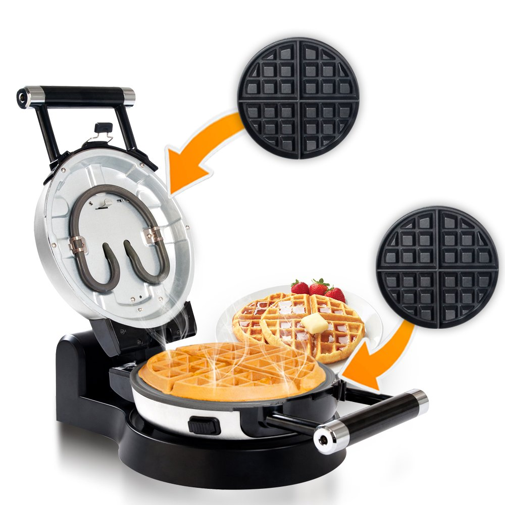 Secura Detachable 360 Rotating Belgian Waffle Maker w/Removable Plates