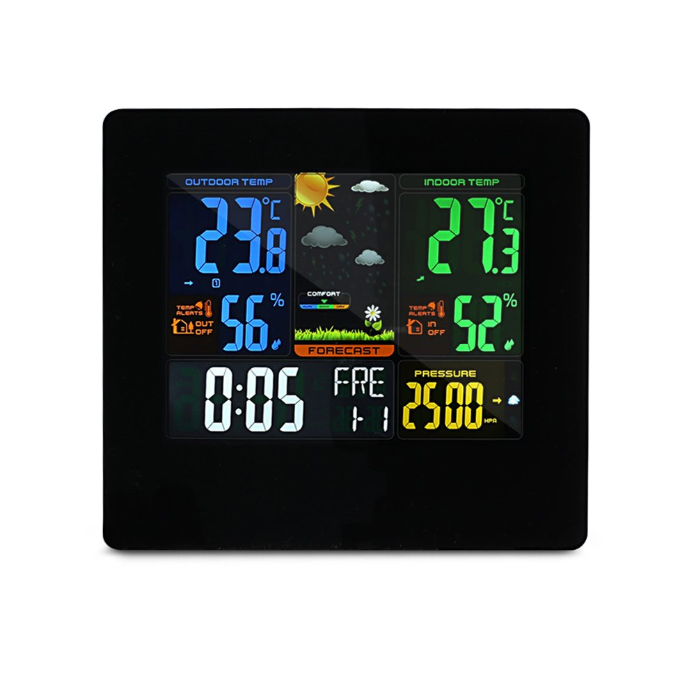 EARME Wireless Weather Station, Indoor Outdoor Forecast Wall Home Alarm Clock with Color LCD Screen,Temperature and Humidity Monitor,USB Charge Port
