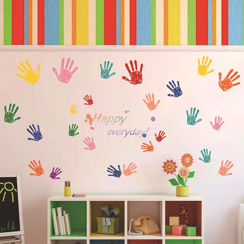 ufengke Happy Everyday Colorful Handprints Wall Decals, Children's Room Nursery Removable Wall Stickers Murals