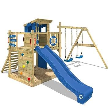 WICKEY Stelzenhaus Smart Camp Holzspielhaus Spielturm Kletterturm mit schrägem Holzdach Doppelschaukel Sandkasten Kletterwand