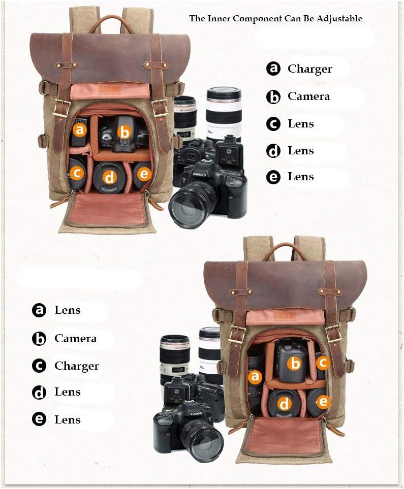Toile SLR DSLR Camera Bag Grande capacit/é Avant Ouverte imperm/éable Antichoc Sac /à Dos Photo Camera Sac de Voyage Professionnel Organiseur de lentille de lappareil Photo Camera Sac /à Dos
