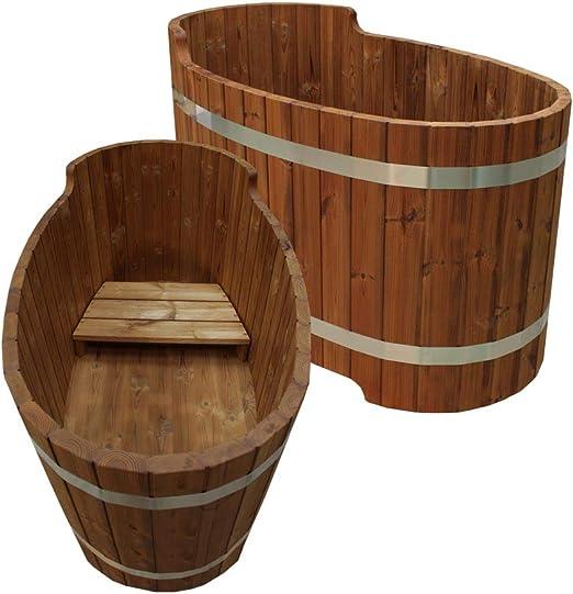 Madera bañera con asiento Banco, SET2 – para madera Barril de baño ...