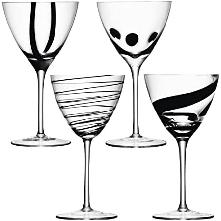 LSA Black Jazz Wine Glasses  Set Of 4