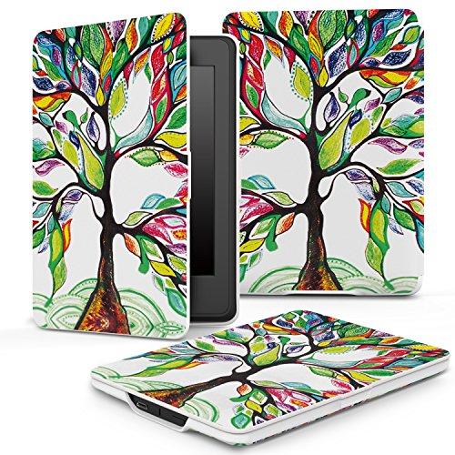 MoKo Kindle Paperwhite Hülle - Ultra Leightweight PU Leder Schutzhülle Schale Smart Case für Alle Kindle Paperwhite (2015/2014/2013/2012 Generation mit 6 Zoll Display und Einbauleuchte), Glück Baum