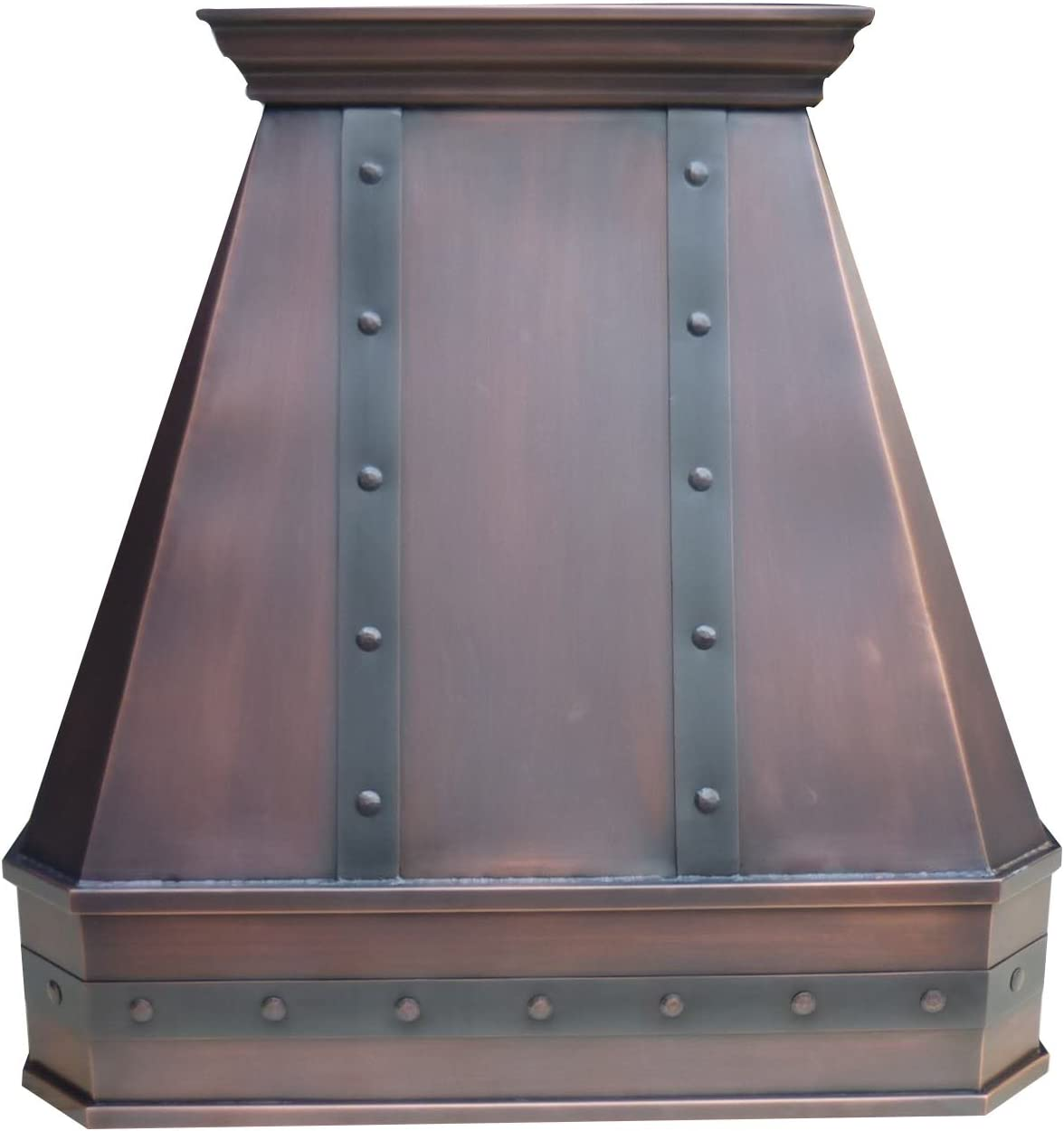 Copper Best H14 482130STR Custom Range Hood Cover with Commercial Grade Stainless Steel Vent, Inlcudes Fan Motor, Light, Blower House and Baffle Filter, Decorative Strips Wall Mount 48in x 30in