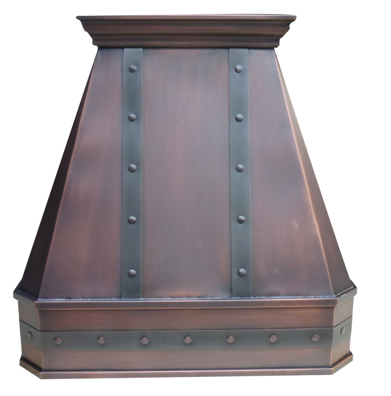 Smooth Copper Vent Hood, includes Professional Liner, Internal Motor and Lighting, Sepcial Trim Design make it easy to install, Antique Copper Finish Suite to Most American Kitchens W36 x H30inch