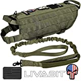 LIVABIT [ OD Green ] Canine Service Dog Tactical Molle Vest Harness + Morale PVC Patches + Matching Heavy Duty Bungee Leash Strap X-Large