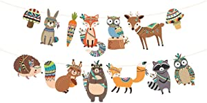 Kristin Paradise Tribal Woodland Banner, Forest Animals Party Sign, Wild Birthday Decorations, Forest Friend Boy Girl Baby Shower Theme Supplies, Bday Kids 1st First Decor