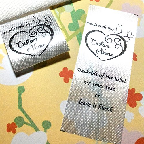 (100 pcs Heart butterfly frame design handmade business Custom text logo personalized Sewing hanging satin ribbon clothing labels folding name tag washable wash care handmade label D)
