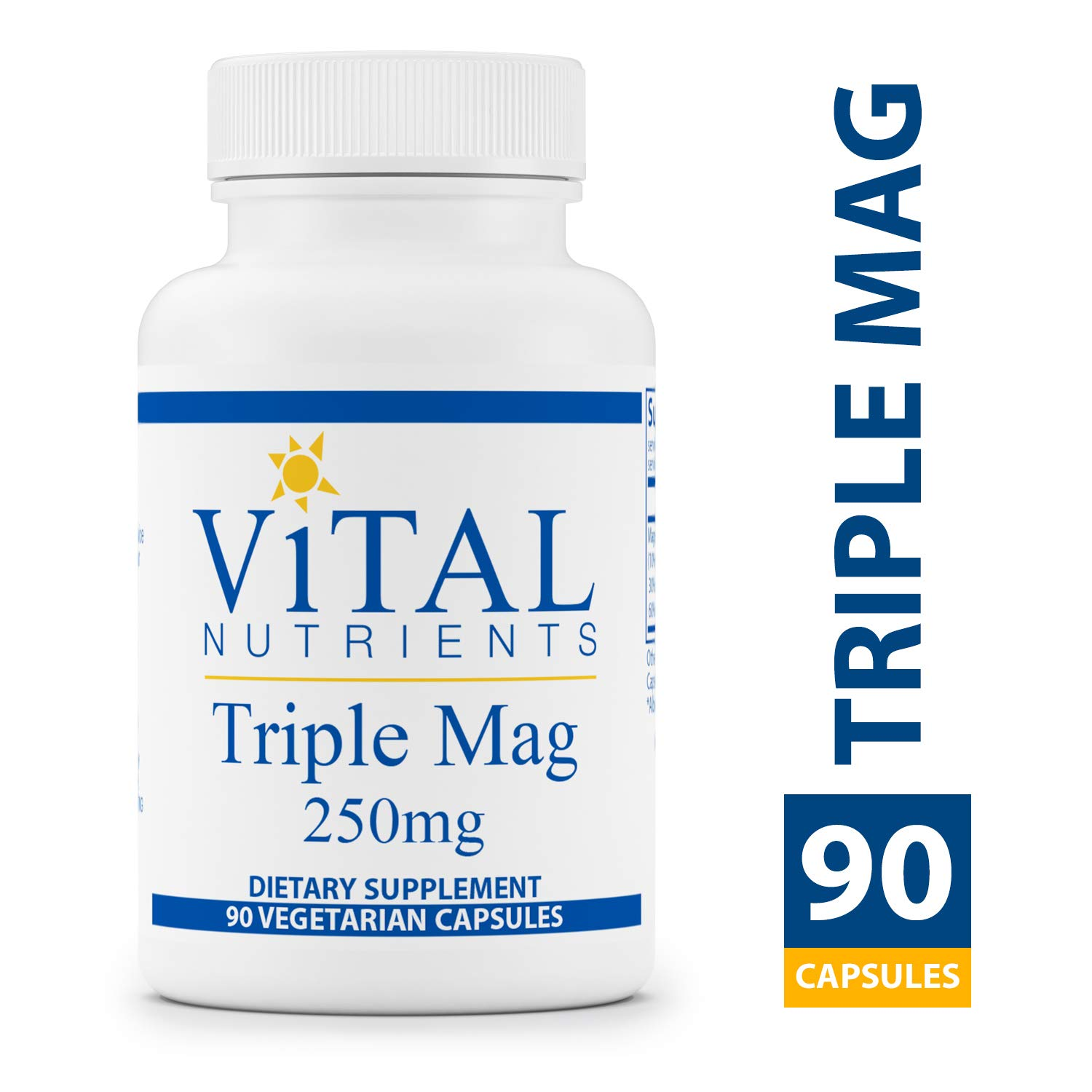 Vital Nutrients - Triple Mag 250 mg - Magnesium for Enhanced Absorption and Metabolism. Contains Magnesium Oxide, Malate and Glycinate - 90 Vegetarian Capsules per Bottle