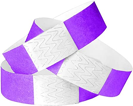 """PAPER ARM BANDS 3//4/"""" PURPLE TYVEK WRISTBAND PAPER WRISTBANDS 550"""