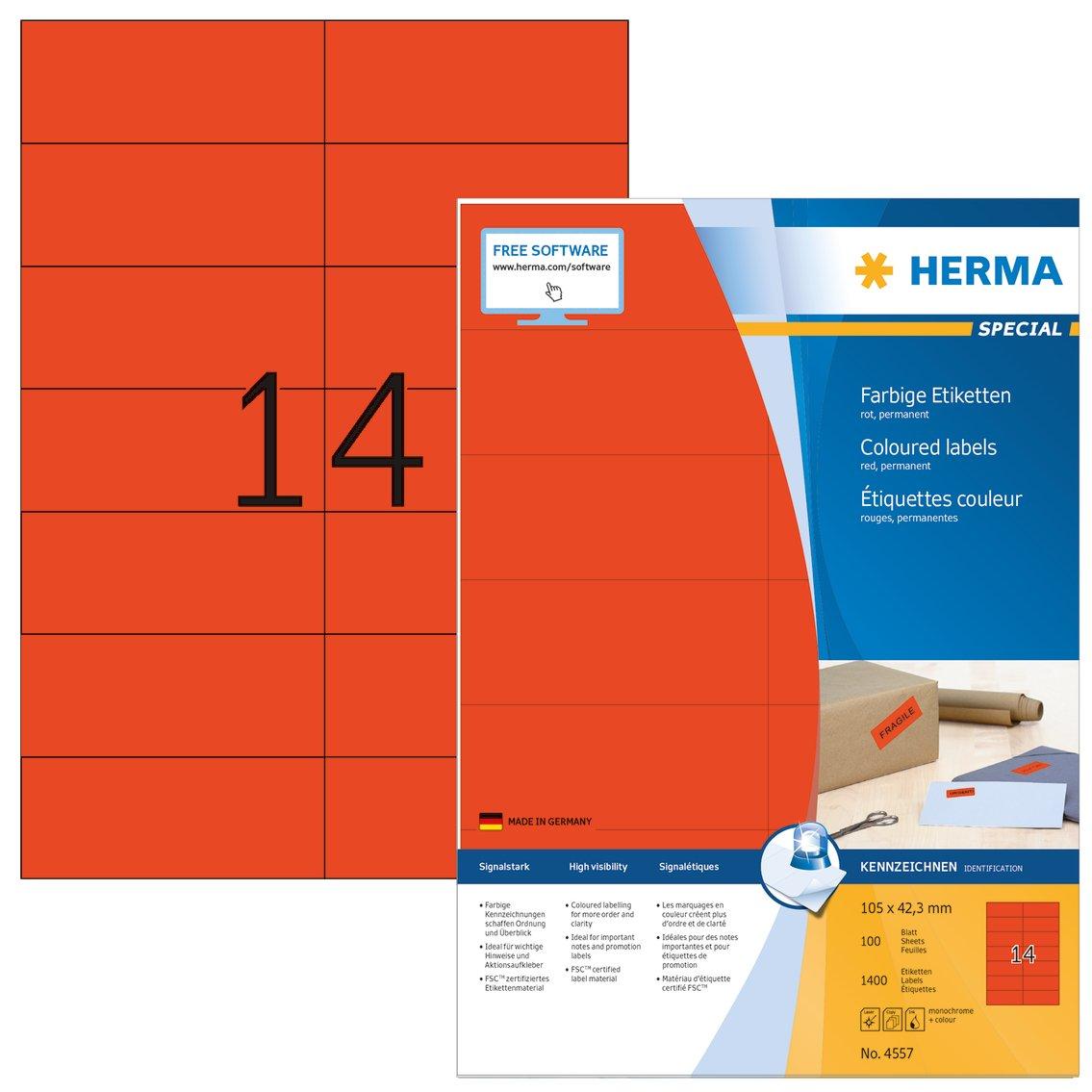 HERMA 4557 Rectángulo Rojo 1400pieza(s) - Etiqueta Etiqueta Etiqueta autoadhesiva (Rojo, Rectángulo, A4, Universal, Matte, Laser/Inyección de tinta) 37f2fe