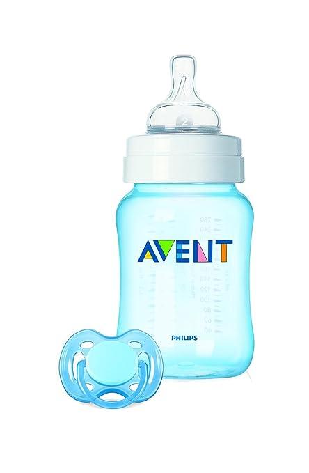 Philips Avent SCD783/19 - Set regalo Classic+ de inicio para recién nacidos, con biberón de 260 ml y chupete, 0 a 6 meses, anticólico, color azul