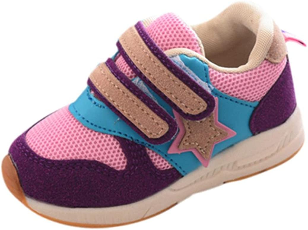 Size 4.5-9 UK Child for Age 1-6 Years Children Candy Color Star Patchwork Running Sport Flats Fastening Mesh Shoes BURFLY Kids Toddlers Baby Boys Girls Trainers Sneakers