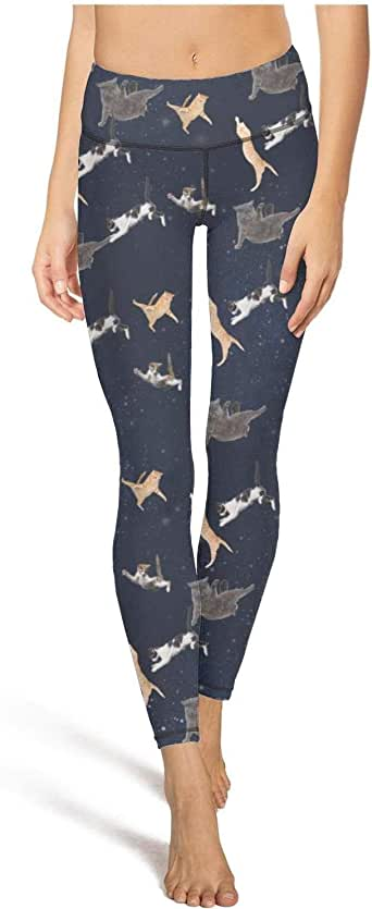 XXS-5XL InterestPrint Womens Soft Slim Leggings Blue Cartoon Whales Running Workout Active Leggings
