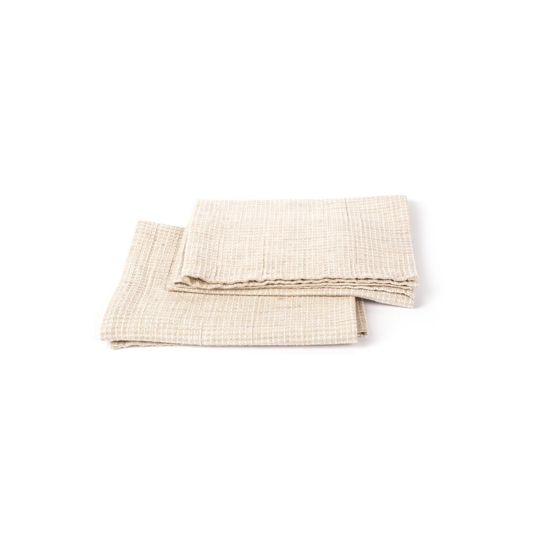 Linenme Un set di due asciugamani in lino naturale Wafer
