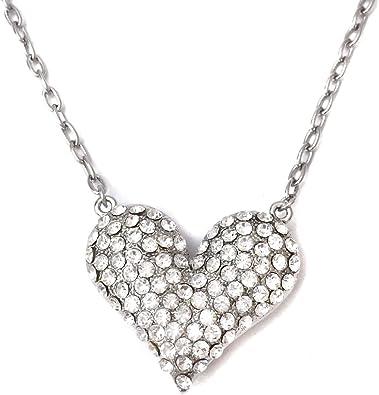 silver rhinestone heart Necklace