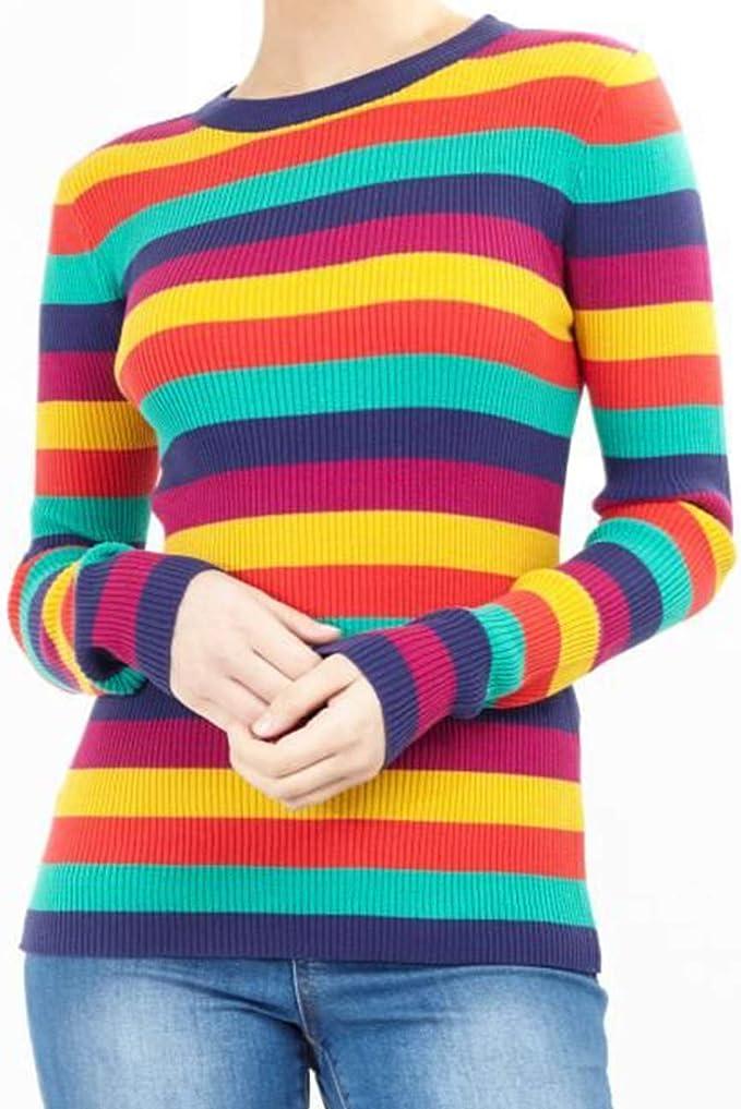 Donna Maglia Maglieria Autunno Inverno Caldo Elegante Manica Lunga Vintage Arcobaleno Colorato A Strisce Moda Giovane Unique Casual Sweater Maglioni Maglione Maglioncino