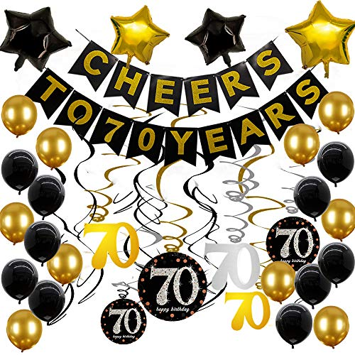 Cheer Birthday Party Supplies (70th Birthday Party Supplies Black and Gold Balloons Gold Glittery Cheers to 70 Years Banner Sparkling Celebration 70 Hanging Swirls 70th Anniversary)