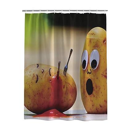 YOKOU Funny Shower Curtain Set With 12 Hooks Murdered Potato Vegetables Theme Bath Polyester Fabric