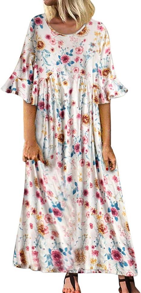 SMILEQ Vestido Largo de Las Mujeres Vintage Roto Estampado de ...