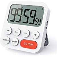 LIORQUE Kitchen Timer Digital Cooking Timer, Magnetic Count Up & Countdown Timer with Large LCD Display and Loud Alarm, 99 Hour Digital Timer with Shortcut Setting & Custom Mode (Battery Included)