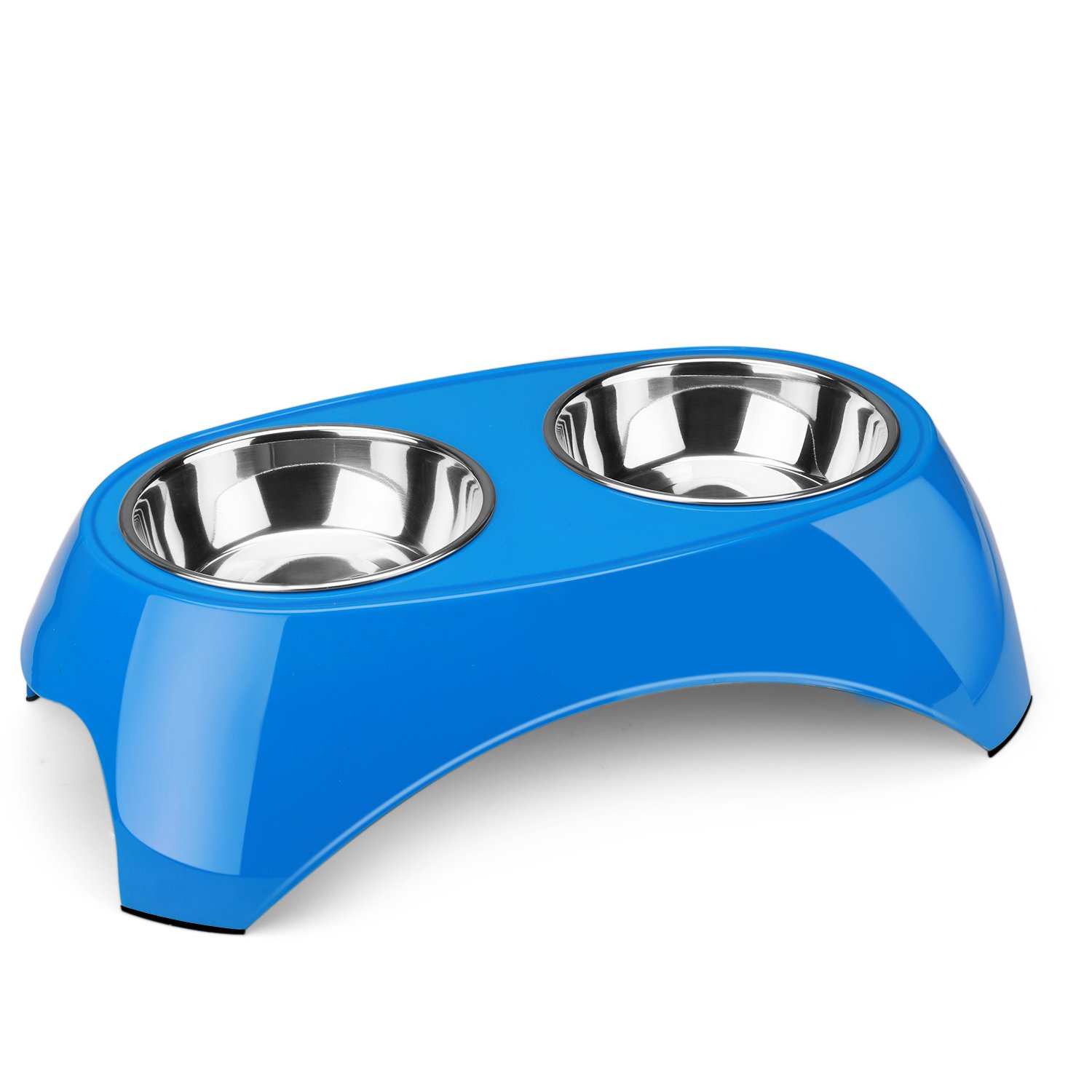Flexzion Pet Feeder Bowls Double Stainless Steel (Set of 2) - Removable Raised Feeding Station Tray Dog Cat Puppies Animal Food Water Holder Container Dish Table Dinner Set with Elevated Stand (Blue)