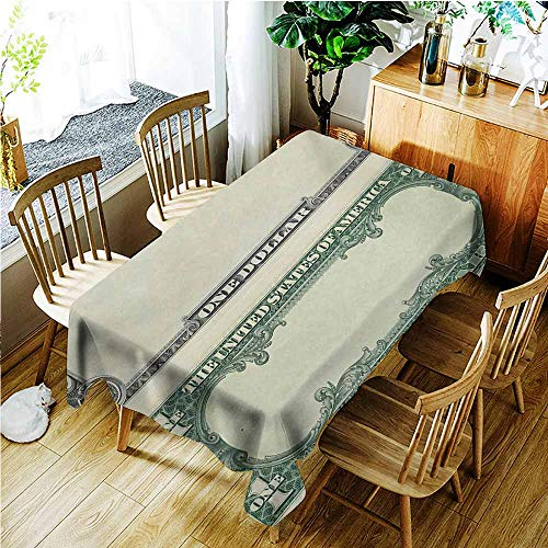 (AndyTours Large Rectangular Tablecloth,Money One Dollar Bill Buck Design American Federal Reserve Note Pattern Wealth Symbol,Fashions Rectangular,W60X90L,Pale Green Grey)