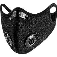 Susenstone - Bandanas faciales con válvula de respiración, reutilizables, lavables, a prueba de polvo, resistente al viento para exteriores, Negro, Talla única 商品名称