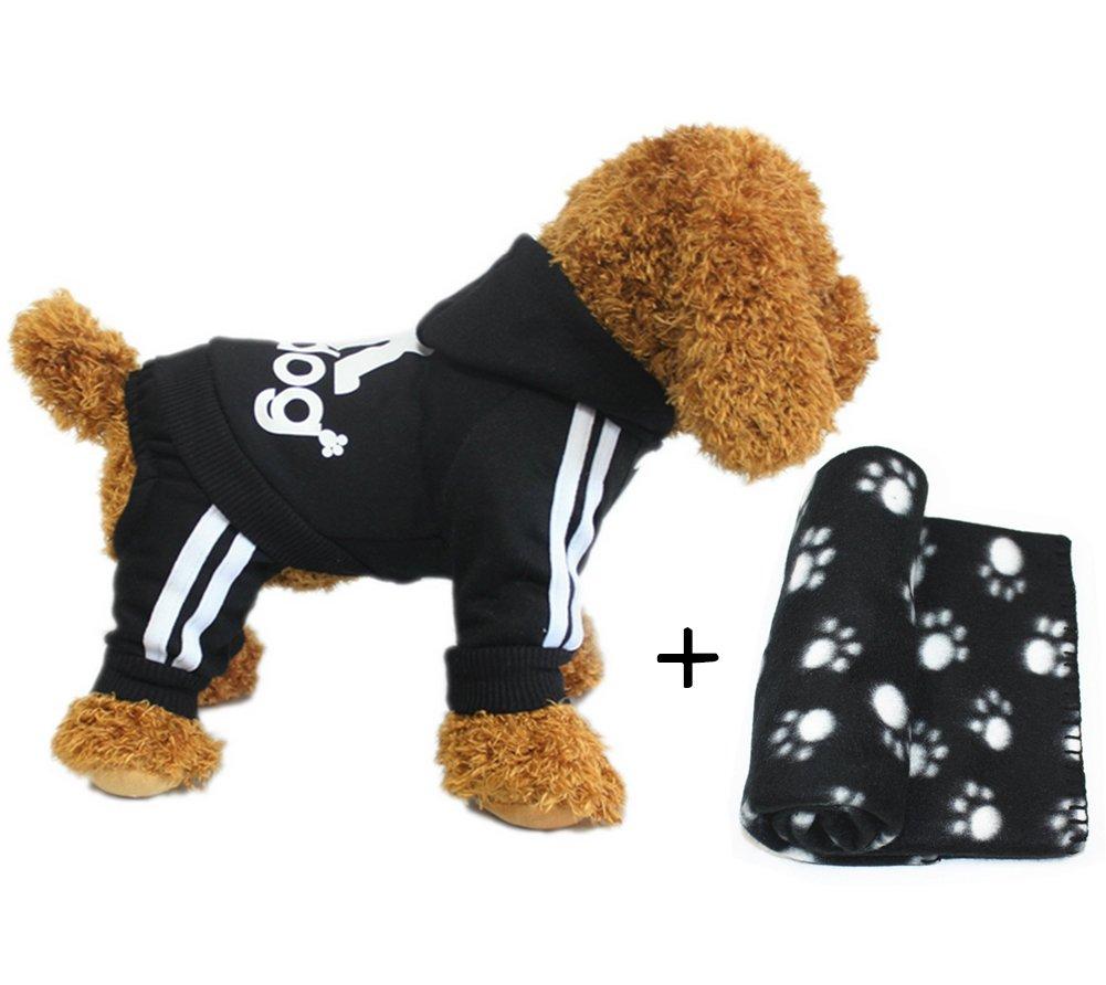Black+blanket X-Large Black+blanket X-Large YAAGLE Pet Warm Sweater Hoodie Coat Sweatshirt Clothes Costume Apparel for Dog Puppy Cat,Black,XL+Blanket