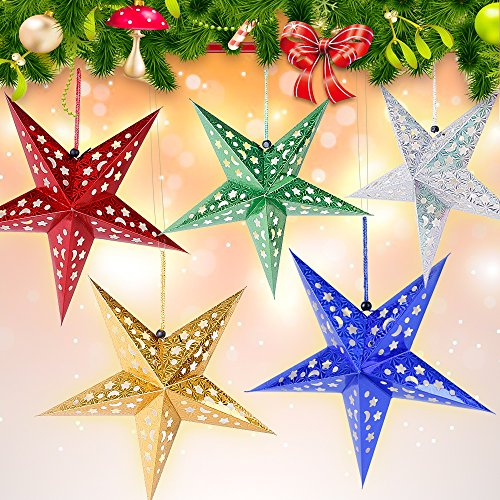 Rabbitgoo 3D Paper Lamp Star Lantern Hanging Decoration for Christmas Wedding Party Birthday Home Pack of 5 (Christmas Lanterns Paper)