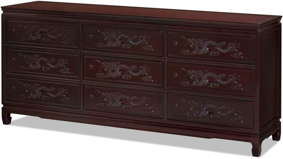Dark Cherry Hand Carved 20in Dragon Motif Rosewood Corner Cabinet