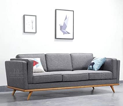 HomeElements Scandinavian Style Grey Fabric 3 Seater Sofa ...