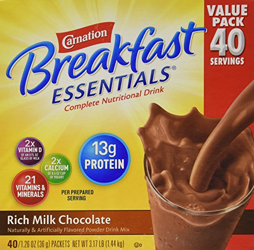 Carnation Breakfast Drink - Carnation Breakfast Essentials 40-1.26oz Packets - Rich Milk Chocolate