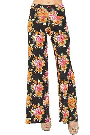 e4f16cb9918 Women Multi Print Yoga Pants Palazzo Fold-Over Waist Wide Leg Pants ...