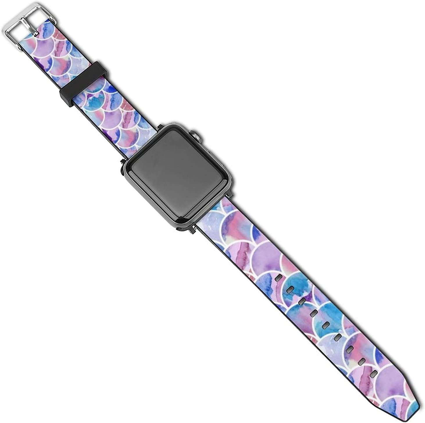 NiYoung Mens Women Colorful Mermaid Fish Scales Apple Watch Band 38mm/40mm, 42mm/44mm, Adjustable Soft Watch Bands Sport Wristband, Leather Replacement Strap with Buckles