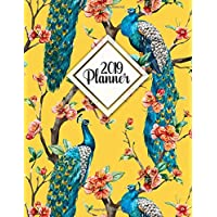 2019 Planner: Watercolor peacock cherry floral 2019 planner organizer with weekly views, to-do lists, inspirational quotes, funny holidays and much more.