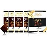 Lindt 瑞士莲 特醇排装50%黑巧克力4块 咖啡色礼盒 400g(瑞士进口)(亚马逊自营商品, 由供应商配送)