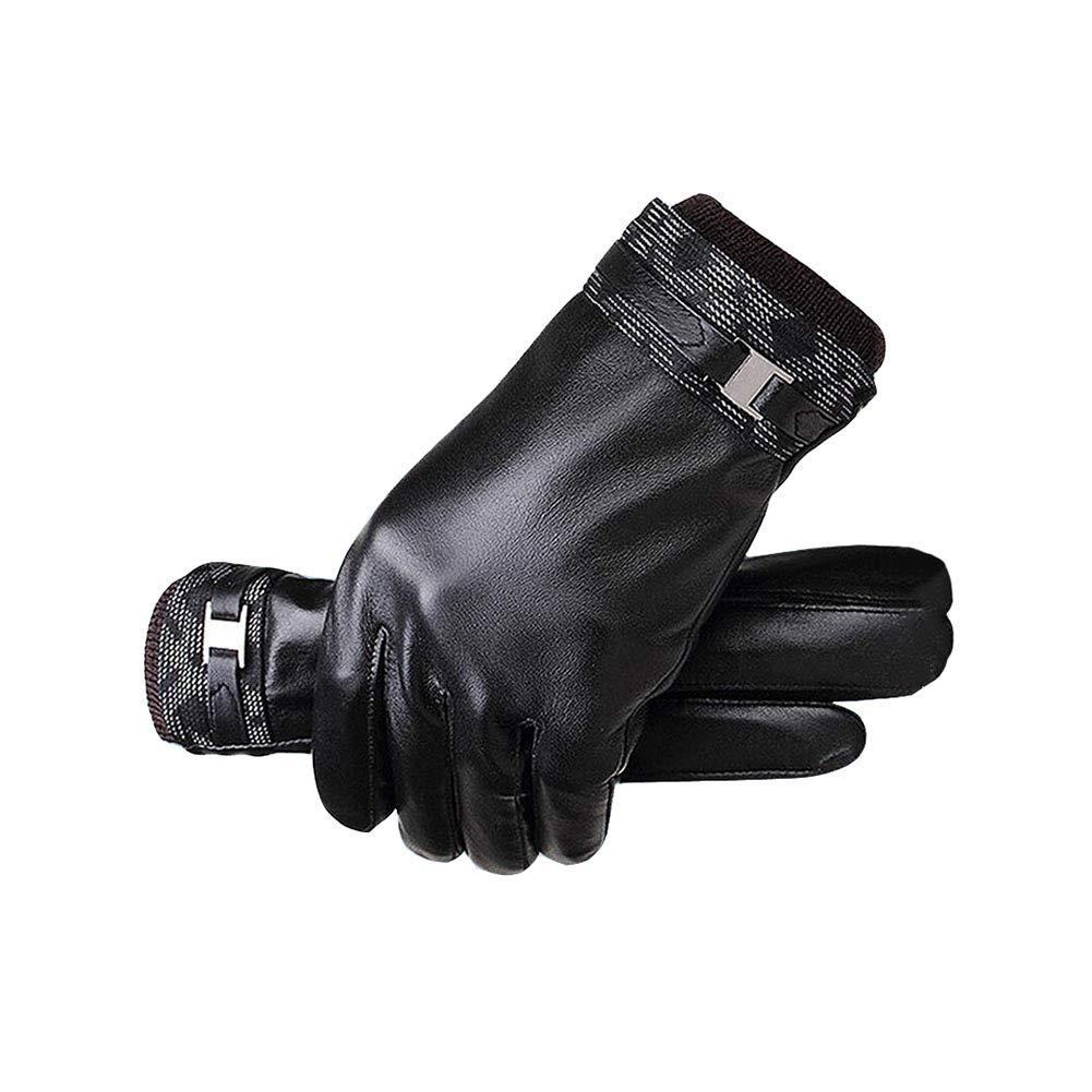 JJH&& Lederhandschuhe Herren Winter Plus SAMT Mode Handschuhe Warm Und Bequem Schwarz