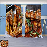 aolankaili Thermal Insulated Blackout Window Room Canteen Gourmet Cooking Crabs Top Extra Long Curtains Set of 2 Panels 120W x 72L Inch