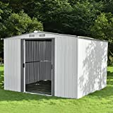 Sliverylake Outdoor Steel Garden Storage Shed Backyard Lawn Building Garage Tool House (8 X 8 FT)